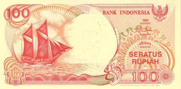 100 rupiah 1992 depan