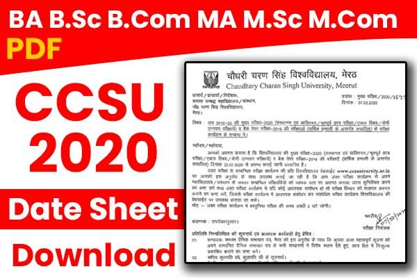 [PDF Download]  CCS University Date Sheet 2020 - टाइम टेबल जारी BA, BSc, BCom