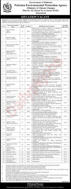 Latest Govt Jobs Ministry of Climate Change (MOCC) Apply 2021