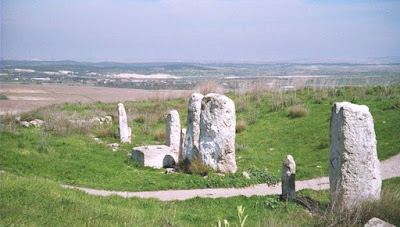 "Tel Gezer stone pillars at a Canaanite ""high place"""