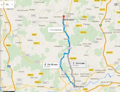 Mapa do percurso entre Barcelos e Balugães