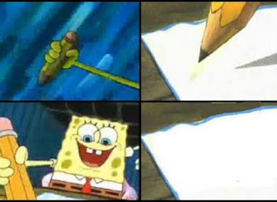 Kumpulan gambar Polosan Meme Spongebob -  Menulis sesuatu
