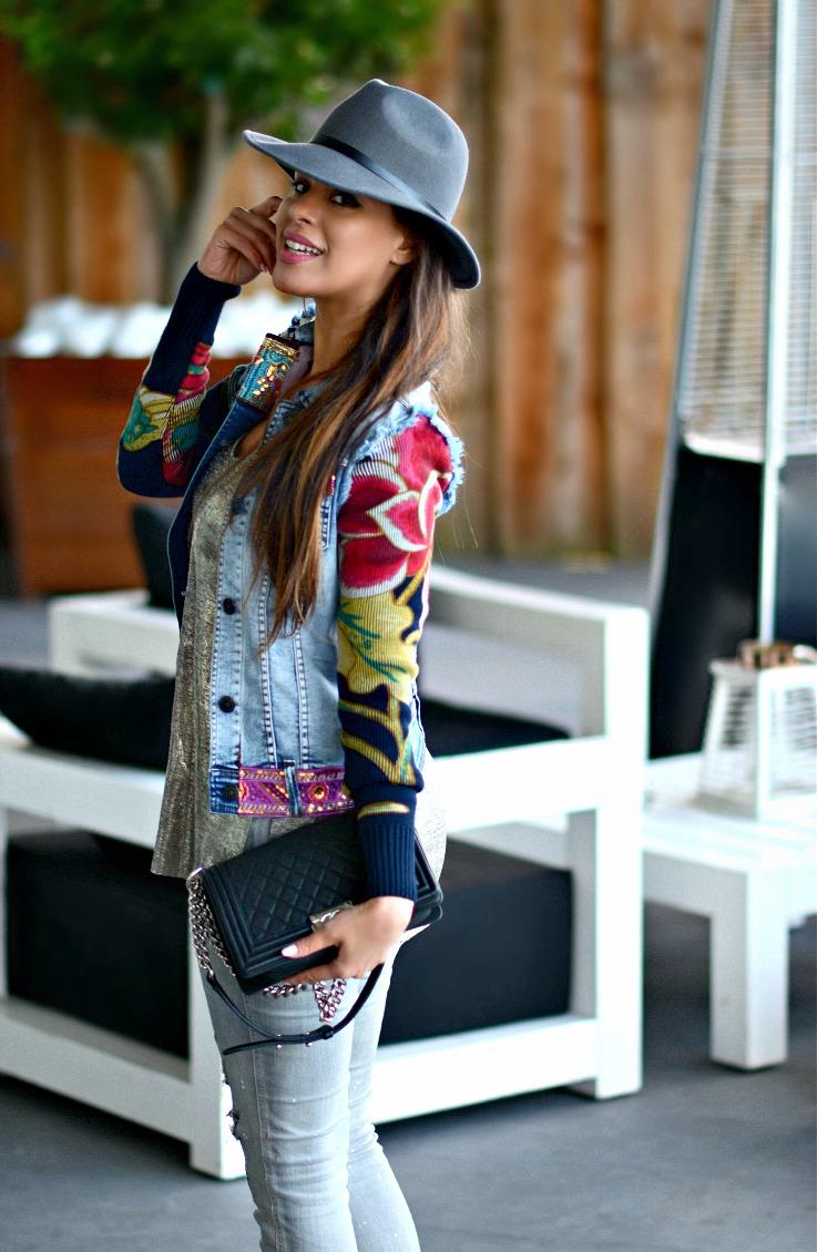 Floral denim jacket, Desigual, Grey outfit, Chanel Boybag, metallic sandal heels Amsterdam Harbour club, TC Style Clues,