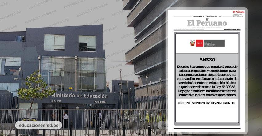 MINEDU publicó Anexos de la D. S. N° 015-2020-MINEDU para Contratación Docente 2021