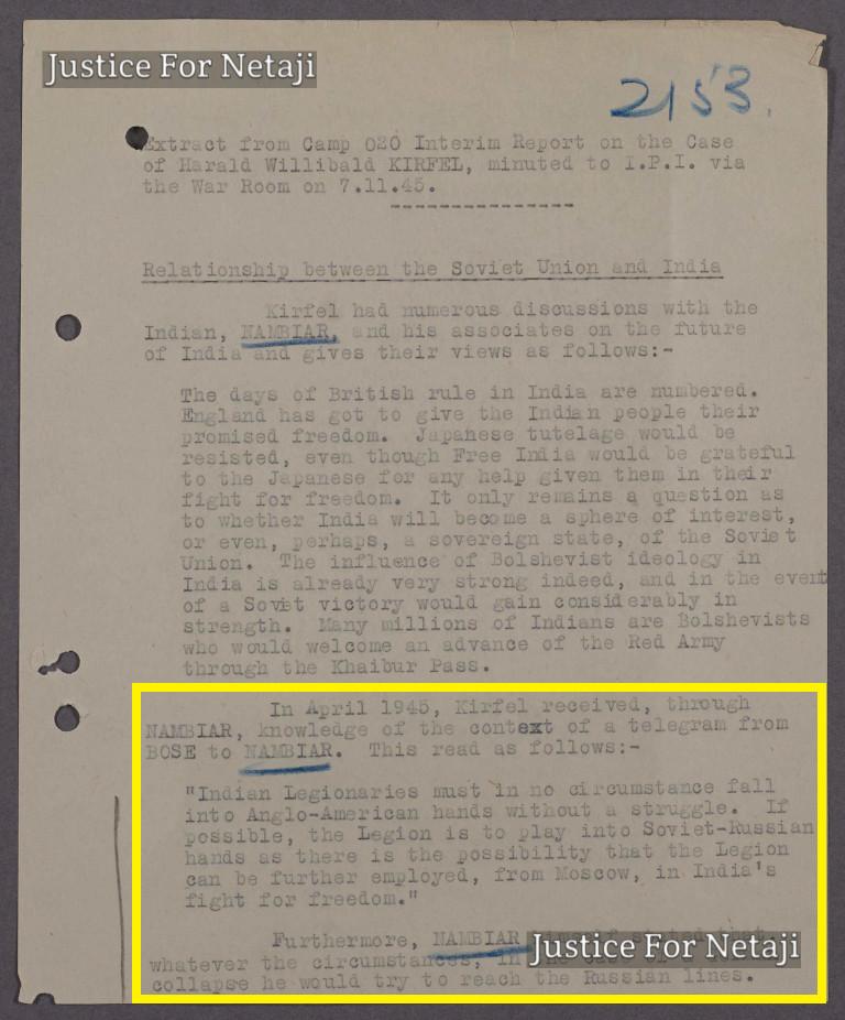 Telegram sent by Bose to Nambiar