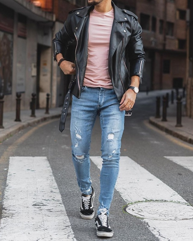 Leather jacket with Round neck T shirt and jeans.