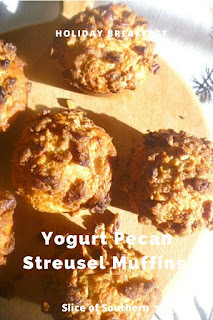 Yogurt Pecan Streusel Muffins:  These holiday inspired muffins will fill your house with holiday scents of cinnamon!  They are moist and sinfully deliscious inside and topped with a decadent pecan cinnamon brown sugar streusel. - Slice of Southern