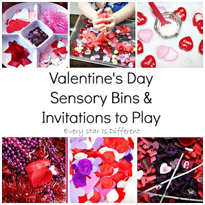Valentine's Day sensory bins and invitations to play