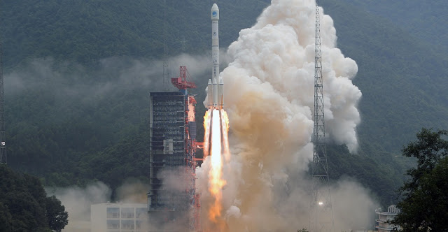 Long March 3B launches with BeiDou-3 M11 and M12 satellites on August 25, 2018. Photo Credit: Xinhua/Liang Keyan.