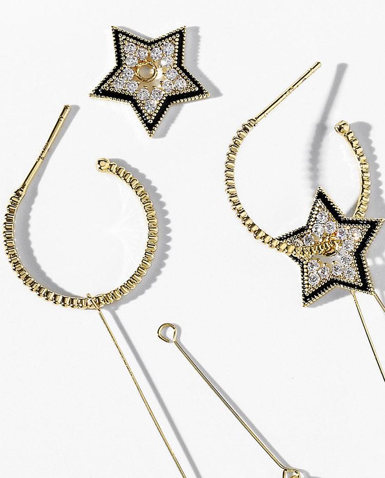 百變水晶星星貝珠流蘇耳環