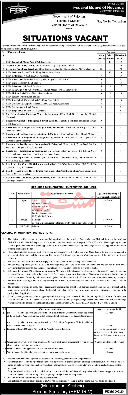 Federal Board of Revenue (FBR) Jobs 2021 in Pakistan - FBR Jobs 2021 Application Form - FBR Jobs 2021