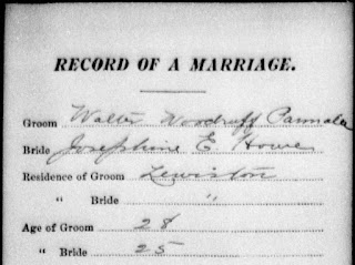 "Ancestry.com, ""Maine Marriages, 1892-1996,"" database index, Ancestry.com (http://www.ancestry.com/ : accessed 12 Feb 2012), entry for Walter W Parmalee and Josephine E Howe, married 16 Sep 1902; citing Maine State Archives. Maine Marriages 1892-1996 (except 1967 to 1976)."