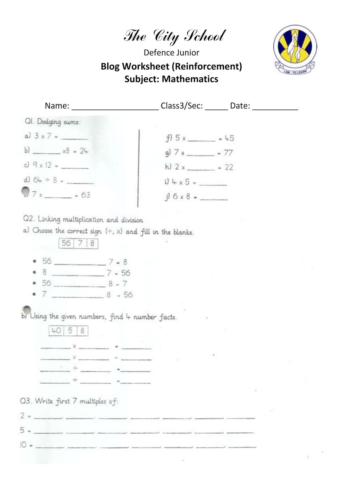 The City School Defence Junior Math S Blog Worksheet
