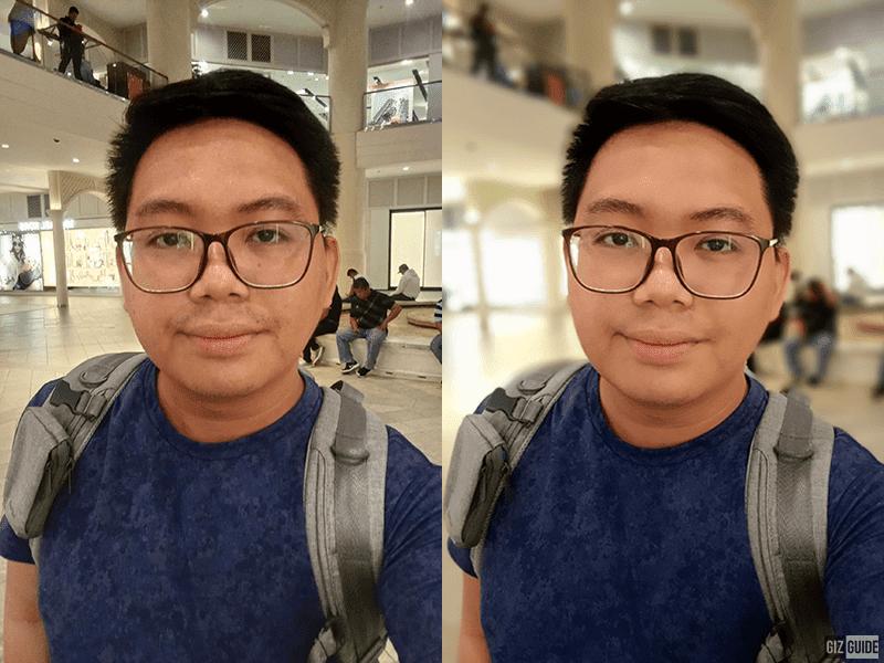 Normal selfie vs AI Face Beauty and Portrait mode selfie