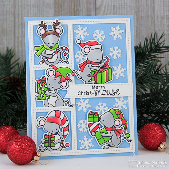 Christmas Mice Card by Juliana Michaels | Naughty or Mice Stamp Set by Newton's Nook Designs #newtonsnook #handmade