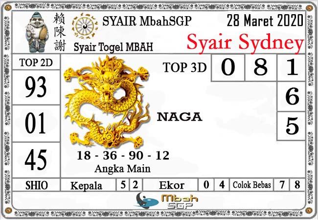Prediksi Sydney Sabtu 28 Maret 2020 - Syair MbahSGP