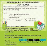 Info Lowongan Kerja Surabaya Terbaru di Lembaga Pelatihan Mandiri Deny Kwee Oktober 2019
