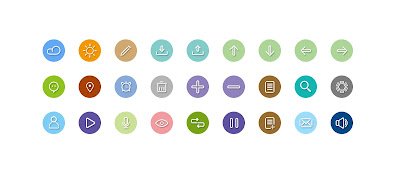 Linear color icons set