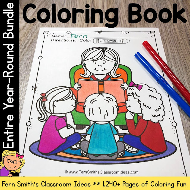 Coloring Pages For An Entire Year Big DISCOUNTED Bundle! #FernSmithsClassroomIdeas