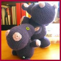 Hipopotamos amigurumis