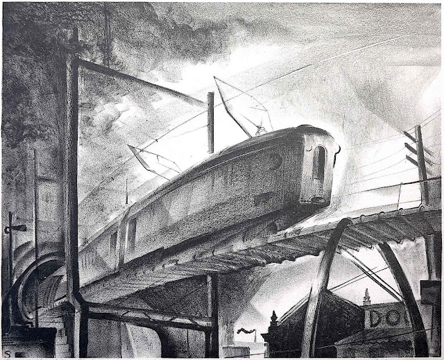 Benton Murdoch Spruance art, a subway train emerging from a tunnel