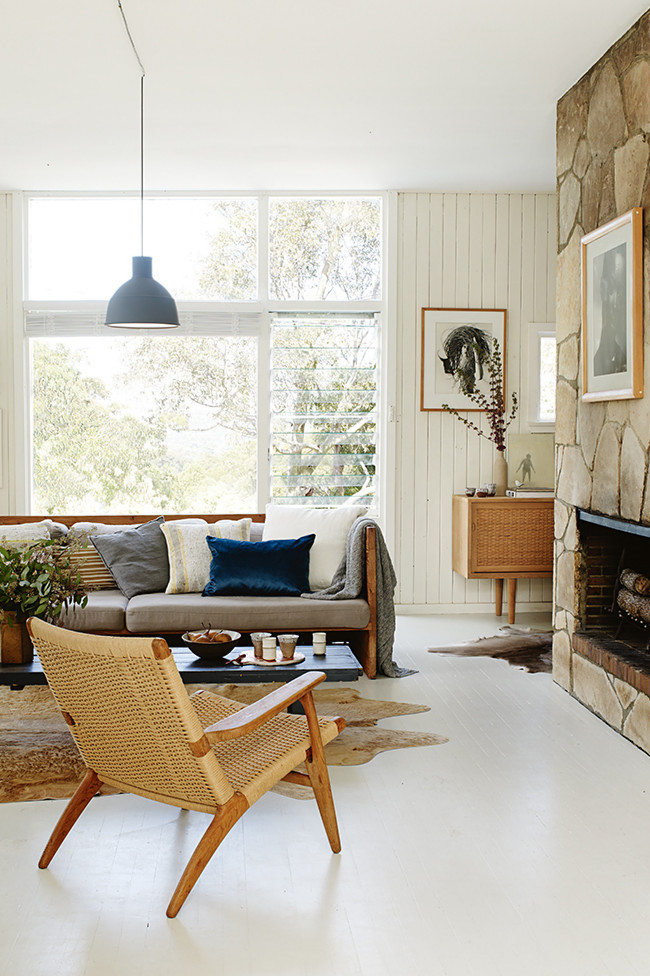 Earthy living room with neutrals and blue
