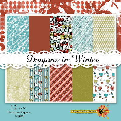 This is the TLC Designs Digital paper pack that coordinated perfectly with the Dragon Stamps from TLC Designs paper crafting store.  The color pallet is turquois and lime greens with a splended burnt orange/red.  The best non traditional holiday paper pack