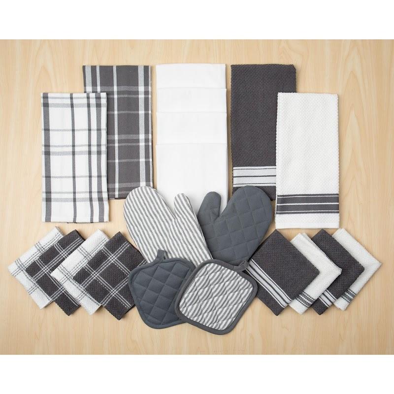 Mainstays, 20 Piece Set, Terry & Flat Kitchen Towel, Dish Cloth, Flour Sack, Oven Mitt, Pot Holder