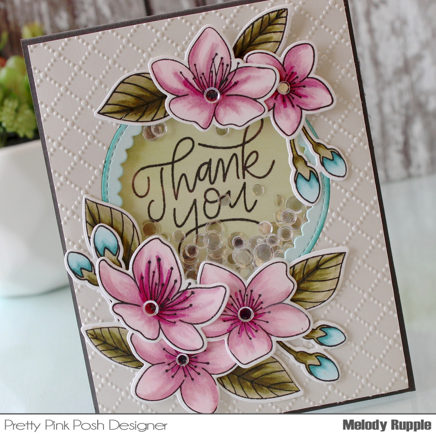 A paper melody a cherry blossoms thank you the beautiful flowers and leaves are stamped with the cherry blossoms stamp set and die cut with the cherry blossoms coordinating dies izmirmasajfo