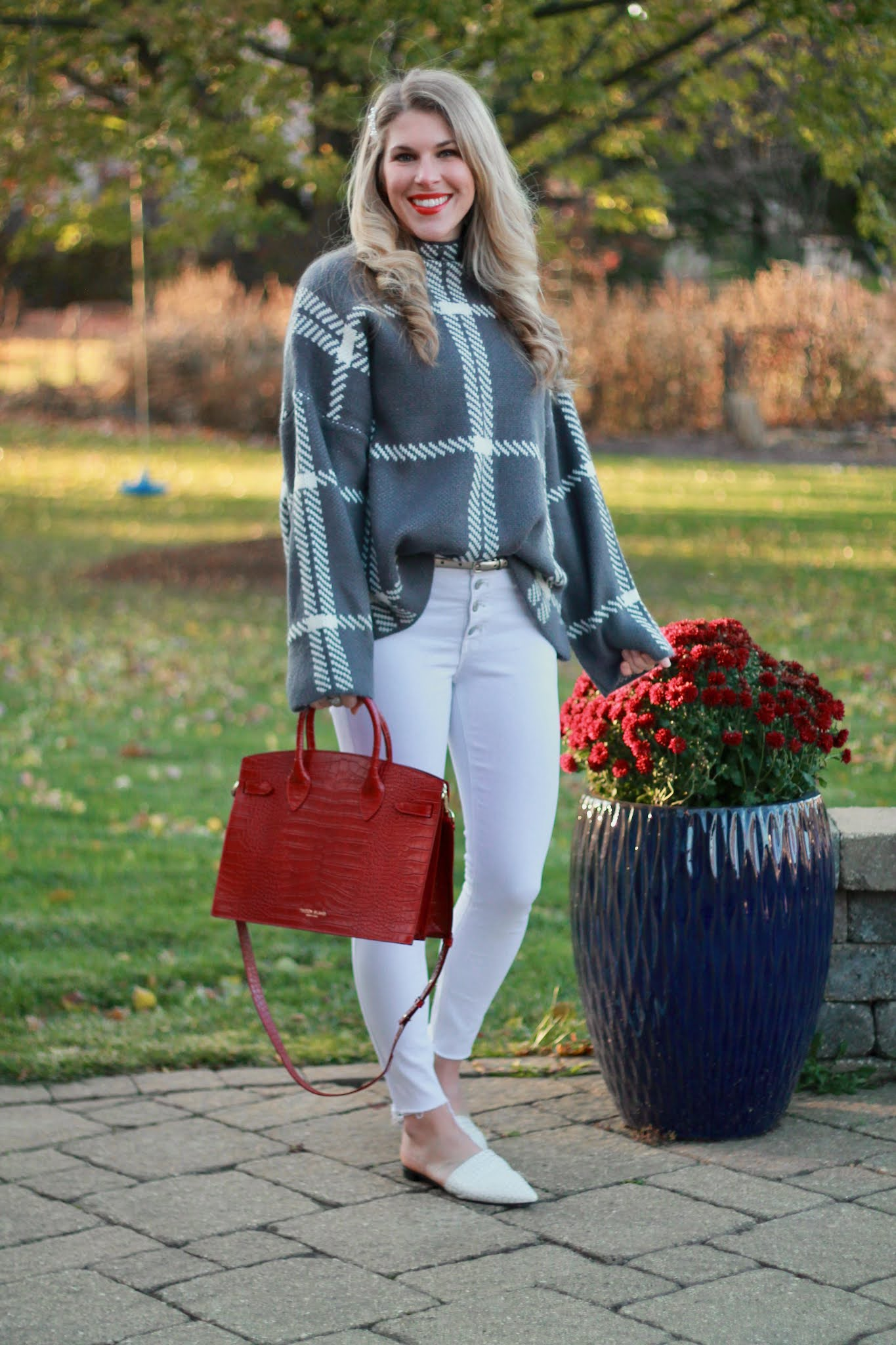 statement bag for winter, teddy blake review, red crocodile bag, white jeans, grey windowpane sweater, white mules