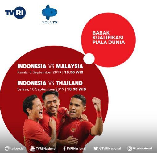 Jadwal Siaran Langsung Timnas Indonesia di Mola TV dan TVRI