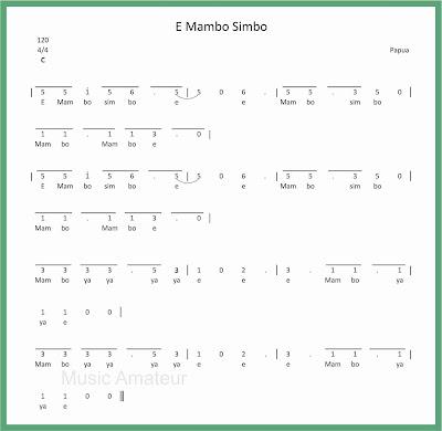 not angka lagu e mambo simbo lagu daerah papua