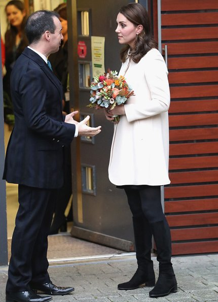 Kate Middleton- Duchess of Cambridge wore Goat Redgrave Coat and Topshop Collar Dress, Russell & Bromley boots