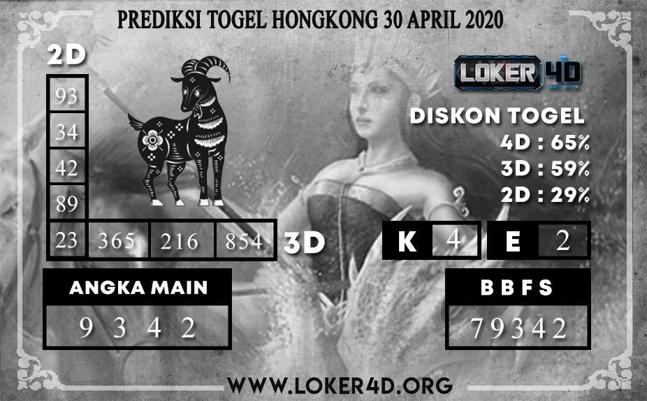 PREDIKSI TOGEL HONGKONG LOKER4D 30 APRIL 2020