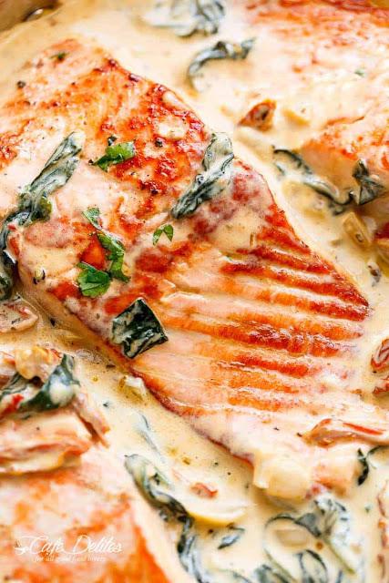 Resepi Ikan Salmon Grill Garlic Cream Sos