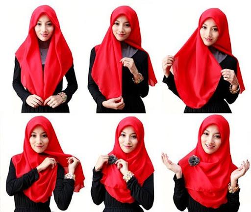 tutorial hijab segitiga style 3
