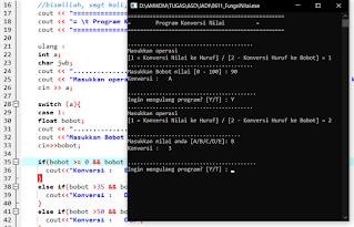 Contoh program c++ konversi nilai