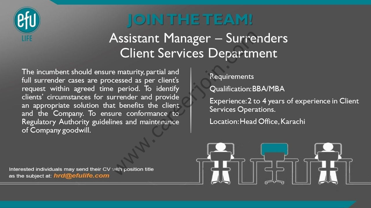 EFU Life Assurance Limited Jobs Assistant Manager Surrenders