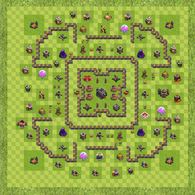 War Base Town Hall Level 9 By gaylin707 (try it TH 9 Layout)
