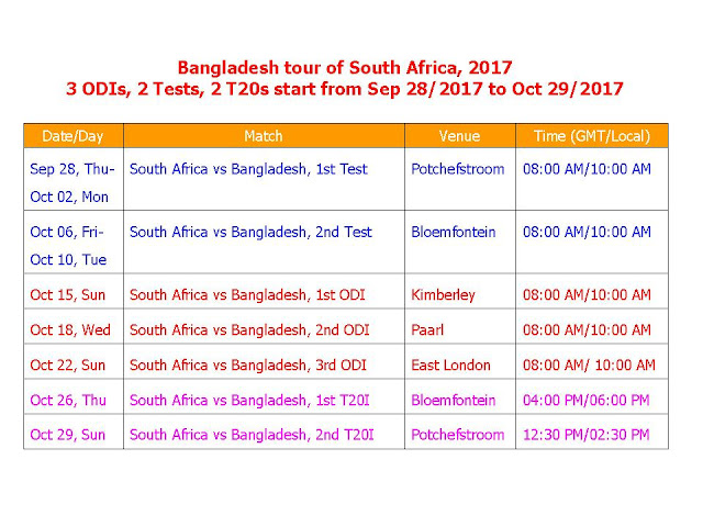 South Africa Vs Bangladesh 2017 Schedule T20/ODI/Test,Bangladesh tour of South Africa 2017,bangaldesh vs. south africa 2017 series schedule,RSA vs. BAN 2017 schedule,t20 crciket,odi cricket,icc 2017 calendar,match,local time,gmt time,South Africa Vs Bangladesh 2017 Schedule,cricket schedule,match date,time,venue,place,player,team