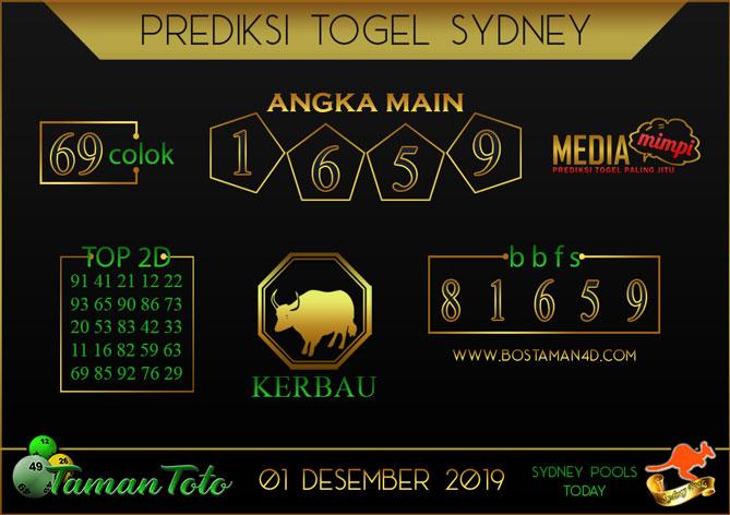 Prediksi Togel SYDNEY TAMAN TOTO 01 DESEMBER 2019