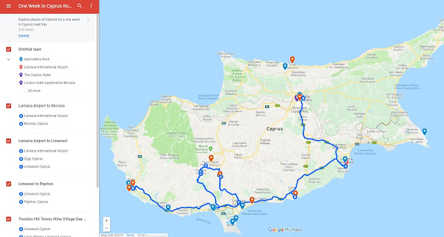 One week in Cyprus road trip map