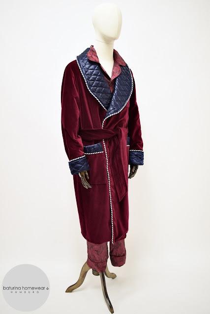 mens red velvet dressing gown burgundy silk robe quilted smoking jacket