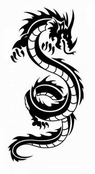 Dragon tattoo stencil