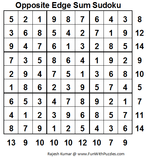 Opposite Edge Sum Sudoku (Fun With Sudoku #30) Solution