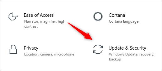 رمز التحديث والأمان في قائمة إعدادات Windows 10
