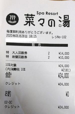 菜々の湯 2020/6/28 回数券購入のレシート
