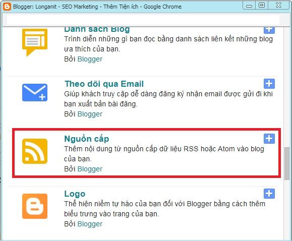 Click chọn tiện ích nguồn cấp để get url rss feed