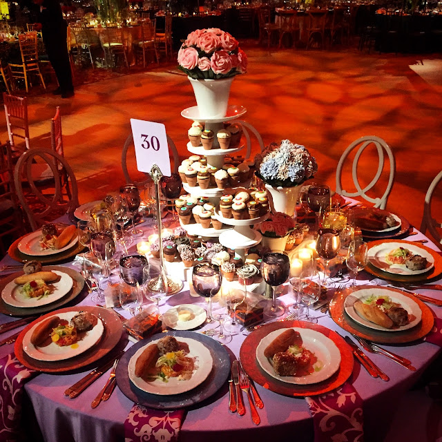 Cupcake Display Table with Rose and Hydrangea Cupcake Bouquets