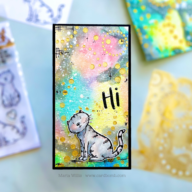 Cardbomb, Maria Willis,Simon Says Stamp,Picket Fence Studios,#STAMPtember,cards, cardmaking, stamps, stamping, paper, papercraft,mixed media,nuvo, stencils, cats, watercolor, heat emboss